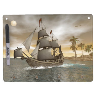 Pirate ship leaving - 3D render Dry Erase Board With Key Ring Holder