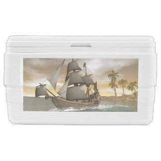 Pirate ship leaving - 3D render Ice Chest