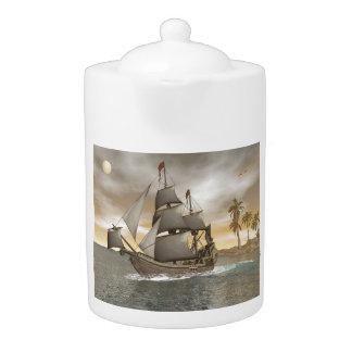 Pirate ship leaving - 3D render.j