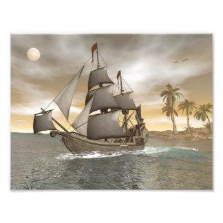 Pirate ship leaving - 3D render.j Art Photo