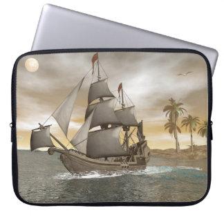 Pirate ship leaving - 3D render.j Laptop Sleeve