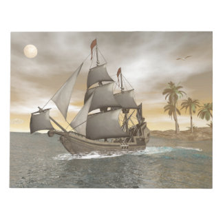 Pirate ship leaving - 3D render.j Notepad