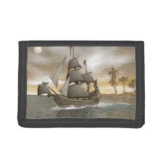 Pirate ship leaving - 3D render.j Trifold Wallet