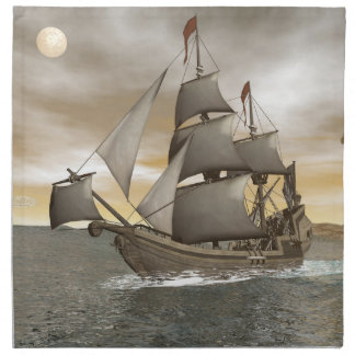 Pirate ship leaving - 3D render Napkin