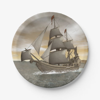 Pirate ship leaving - 3D render Paper Plate