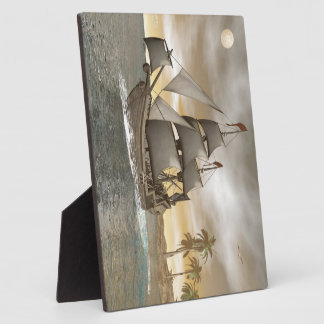 Pirate ship leaving - 3D render Plaque