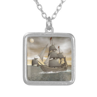 Pirate ship leaving - 3D render Silver Plated Necklace