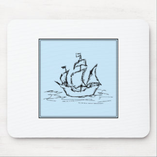 Pirate Ship. On pale blue. Mouse Pad
