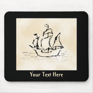 Pirate Ship. Parchment Pattern Background. Mouse Pad