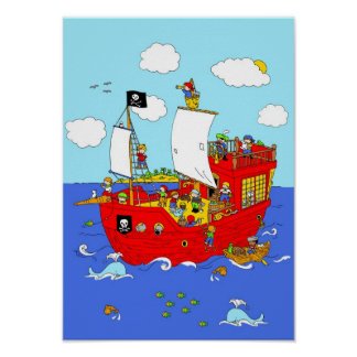 Pirate Ship scene Poster