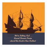 Pirate Ship Silhouette Invitation 13 Cm X 13 Cm Square Invitation Card