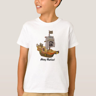 Pirate Ship Skull and Crossbones Flag Kids 2 T-Shirt