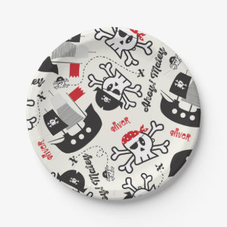 Pirate Ship Skulls Boy Birthday Party Custom Name Paper Plate