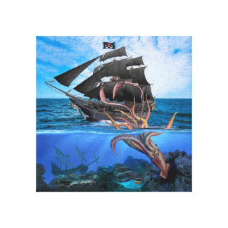 Pirate Ship vs The Giant Squid Canvas Print