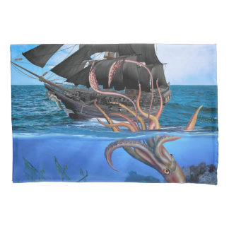 Pirate Ship vs The Giant Squid Pillowcase