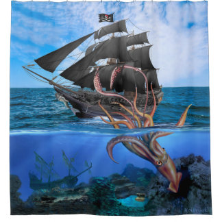 Pirate Ship vs The Giant Squid Shower Curtain