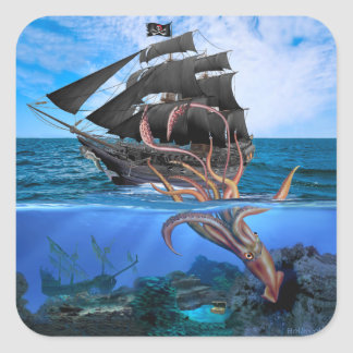 Pirate Ship vs The Giant Squid Square Sticker