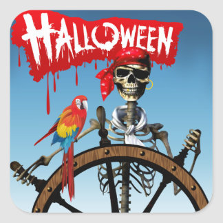Pirate Skeleton Sailor with Macaw Halloween Party Square Sticker