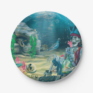 Pirate Skeleton Treasure Under the Sea Party Paper Plate
