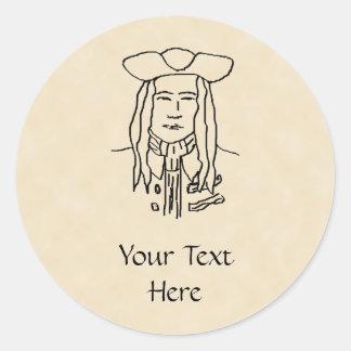 Pirate Sketch. Round Sticker