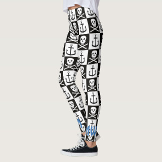 Pirate Skull &Anchor Black & White Check Pattern Leggings