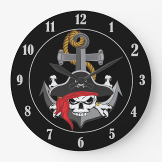 Pirate Skull Anchor Large Clock