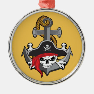 Pirate Skull Anchor Metal Ornament