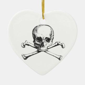 Pirate Skull and Crossbone Ceramic Ornament