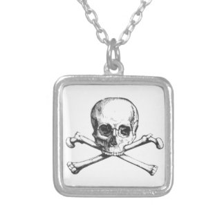 Pirate Skull and Crossbone Silver Plated Necklace