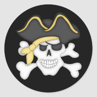 Pirate Skull and Crossbones Classic Round Sticker