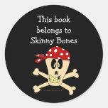 Pirate Skull and Crossbones Custom Bookplate Round Sticker