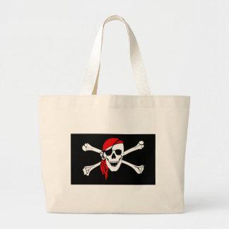 Pirate Skull and crossbones Flag Large Tote Bag