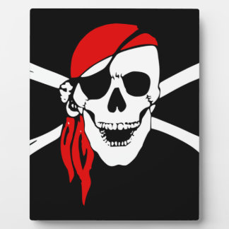 Pirate Skull and crossbones Flag Plaque