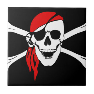 Pirate Skull and crossbones Flag Small Square Tile