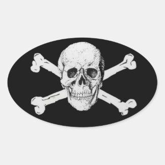 Pirate Skull and Crossbones Oval Sticker