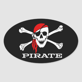 Pirate Skull and Crossbones Oval Sticker #1