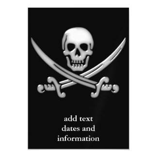 Pirate Skull and Sword Crossbones (TLAPD) Magnetic Invitations