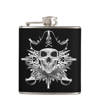 Pirate Skull And Swords, Vinyl Wrapped Flask