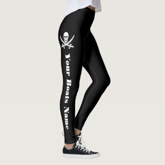 Pirate skull and your boats name leggings