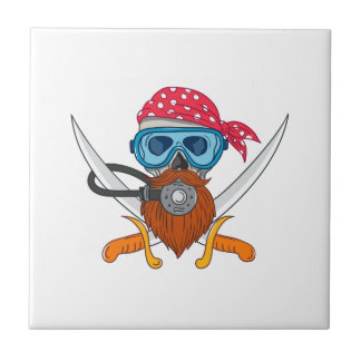 Pirate Skull Beard Diving Mask Drawing Tile