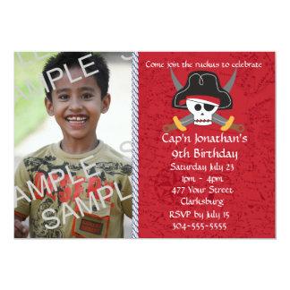 Pirate Skull Birthday Photo Template 13 Cm X 18 Cm Invitation Card