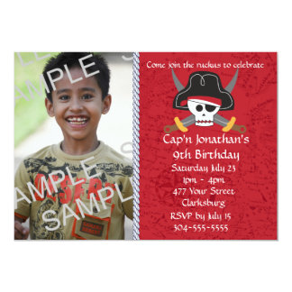 Pirate Skull Birthday Photo Template Card