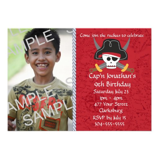 Pirate Skull Birthday Photo Template Personalized Announcements