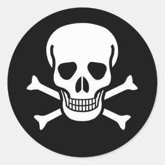 Pirate Skull & Bones (pack of 6/20) Classic Round Sticker