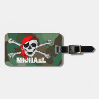 Pirate Skull & Crossbones, Camouflage Luggage Tags