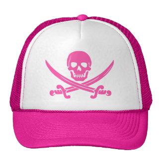 pirate skull crossbones pink trucker hat