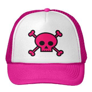 pirate skull crossbones pink mesh hat