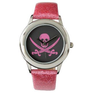 pirate skull crossbones pink watch