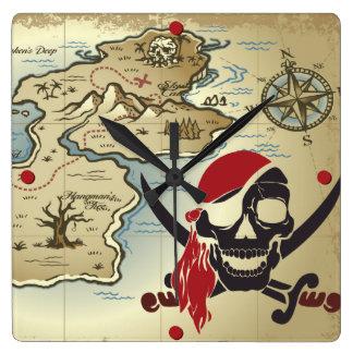 Pirate Skull Island Location Wall Clock