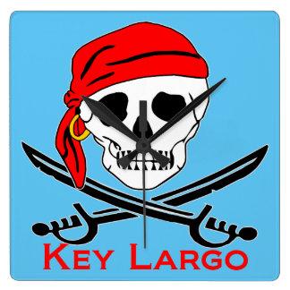 Pirate Skull Key Largo Key West Square Wall Clock